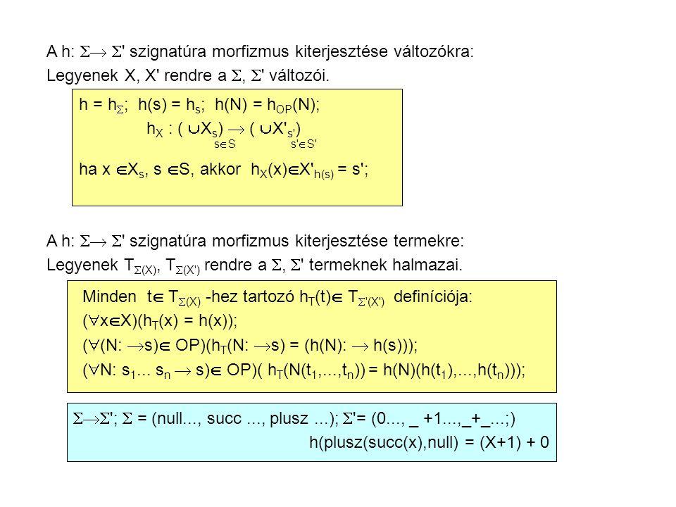 A h:   szignatúra morfizmus kiterjesztése változókra: Legyenek X, X rendre a ,  változói.