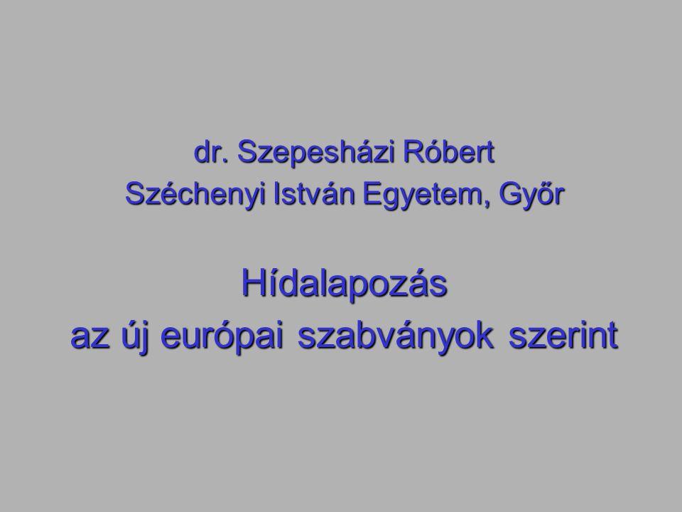 dr. Szepesházi Róbert Széchenyi István Egyetem, Győr Hídalapozás az új európai szabványok szerint