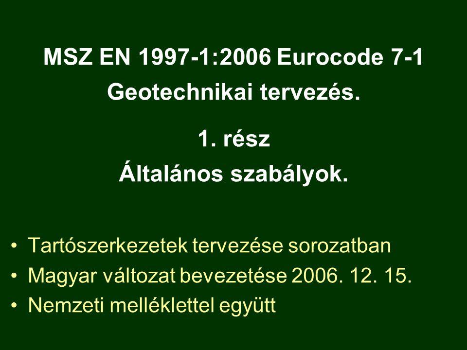 MSZ EN 1997-1:2006 Eurocode 7-1 Geotechnikai tervezés. 1. rész Általános szabályok. Tartószerkezetek tervezése sorozatban Magyar változat bevezetése 2