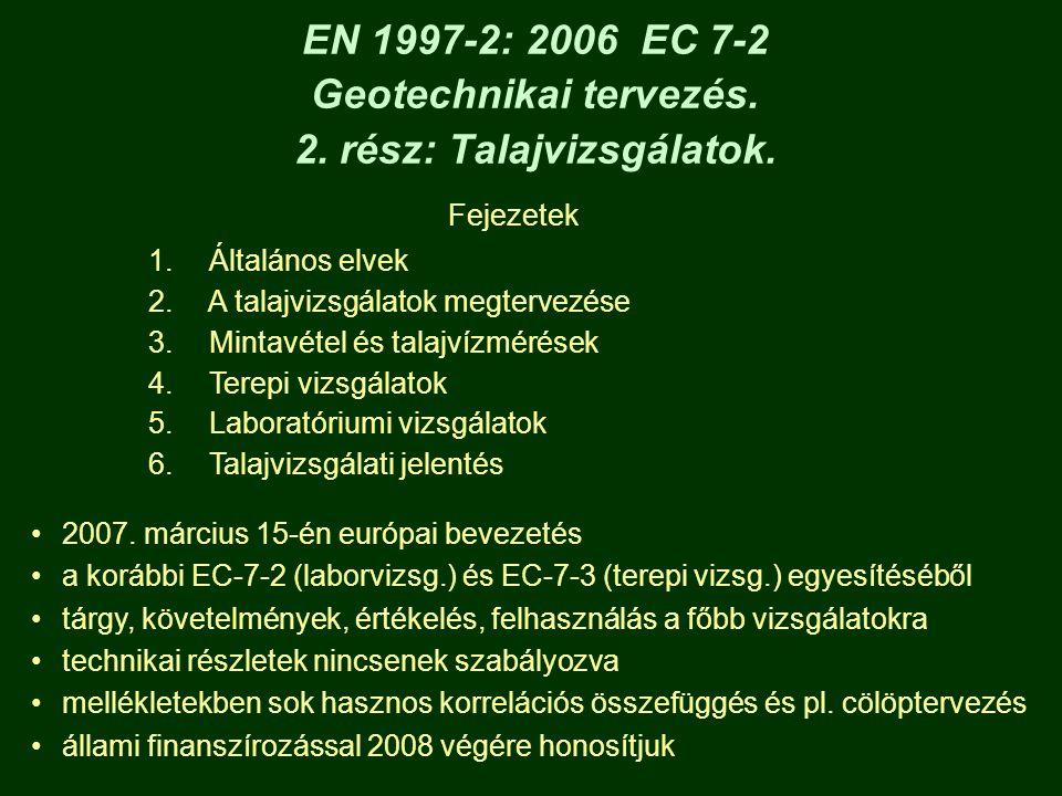 EN 1997-2: 2006 EC 7-2 Geotechnikai tervezés. 2. rész: Talajvizsgálatok. Fejezetek 1. Általános elvek 2. A talajvizsgálatok megtervezése 3. Mintavétel