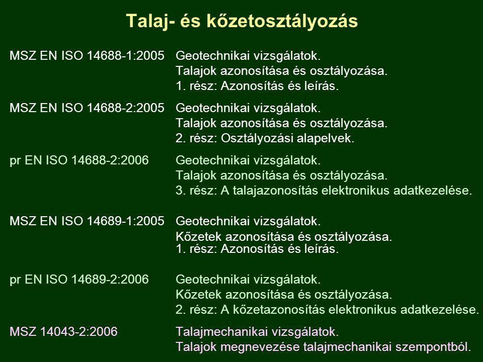 Talaj- és kőzetosztályozás MSZ EN ISO 14688-1:2005 Geotechnikai vizsgálatok. Talajok azonosítása és osztályozása. 1. rész: Azonosítás és leírás. MSZ E