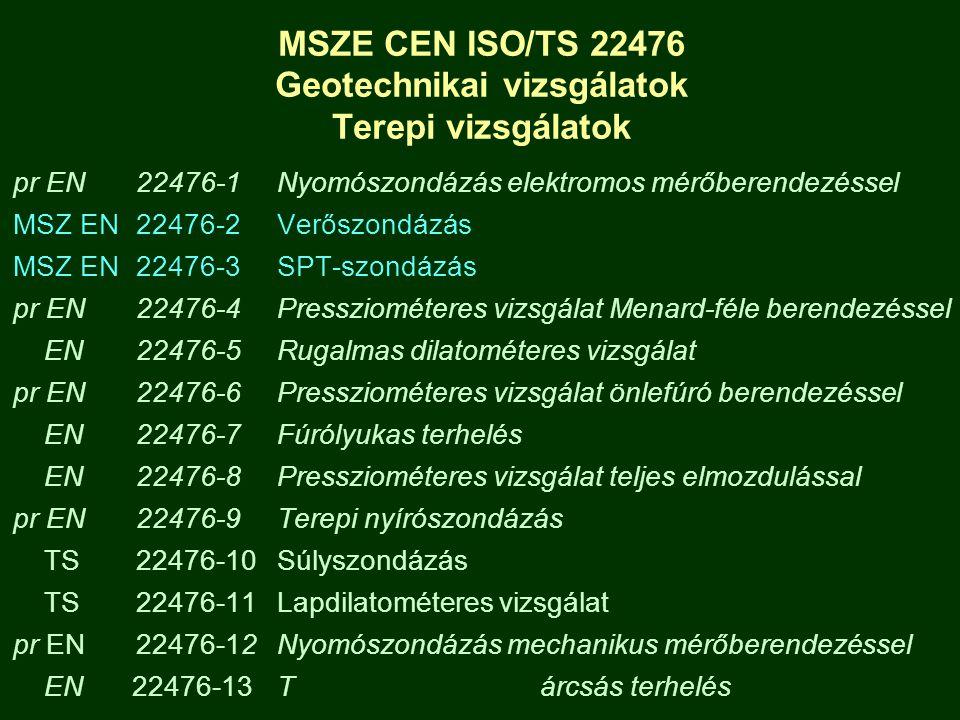 MSZE CEN ISO/TS 22476 Geotechnikai vizsgálatok Terepi vizsgálatok pr EN 22476-1Nyomószondázás elektromos mérőberendezéssel MSZ EN 22476-2Verőszondázás
