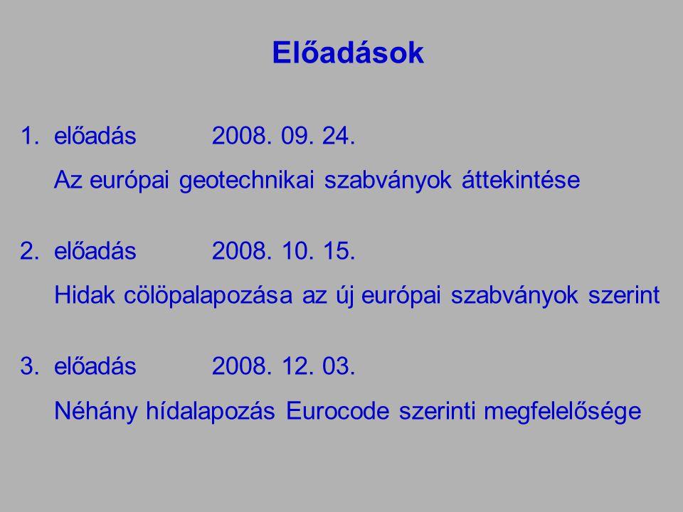 Előadások 1.előadás 2008. 09. 24. Az európai geotechnikai szabványok áttekintése 2.előadás2008. 10. 15. Hidak cölöpalapozása az új európai szabványok