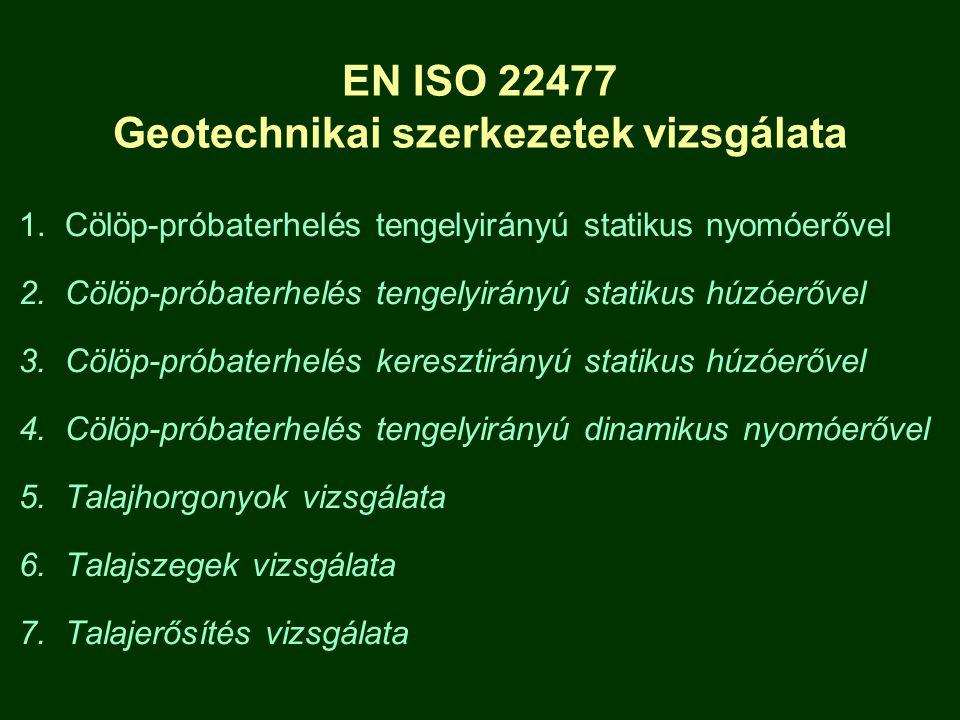 EN ISO 22477 Geotechnikai szerkezetek vizsgálata 1. Cölöp-próbaterhelés tengelyirányú statikus nyomóerővel 2. Cölöp-próbaterhelés tengelyirányú statik