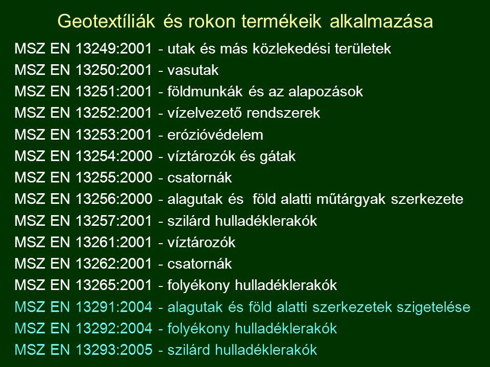Geotextíliák és rokon termékeik alkalmazása MSZ EN 13249:2001 - utak és más közlekedési területek MSZ EN 13250:2001 - vasutak MSZ EN 13251:2001 - föld