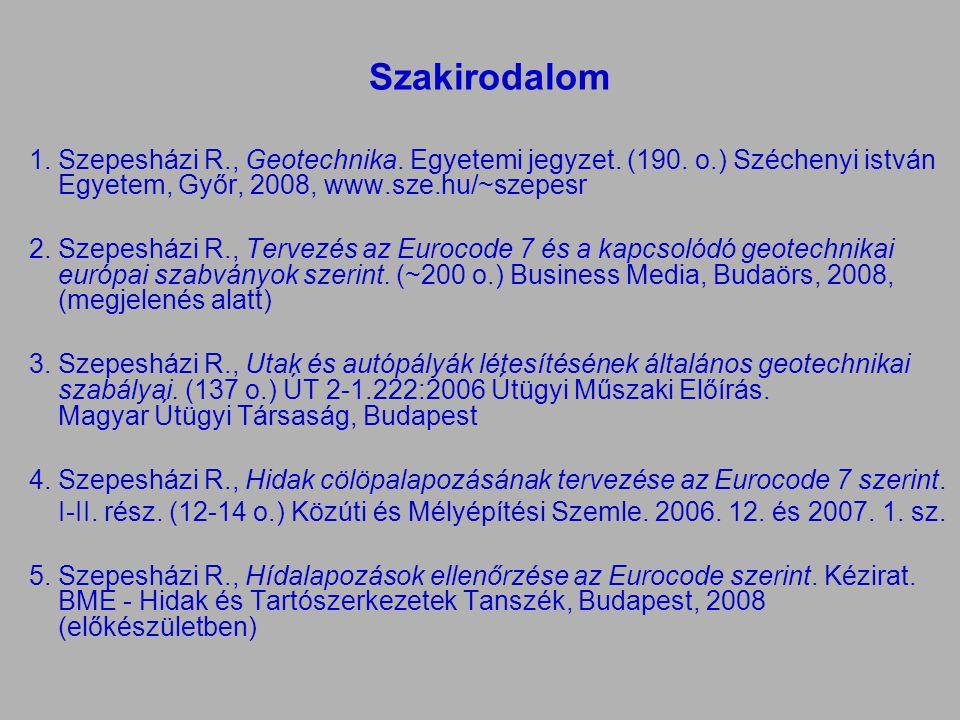 Szakirodalom 1.Szepesházi R., Geotechnika. Egyetemi jegyzet. (190. o.) Széchenyi istván Egyetem, Győr, 2008, www.sze.hu/~szepesr 2.Szepesházi R., Terv