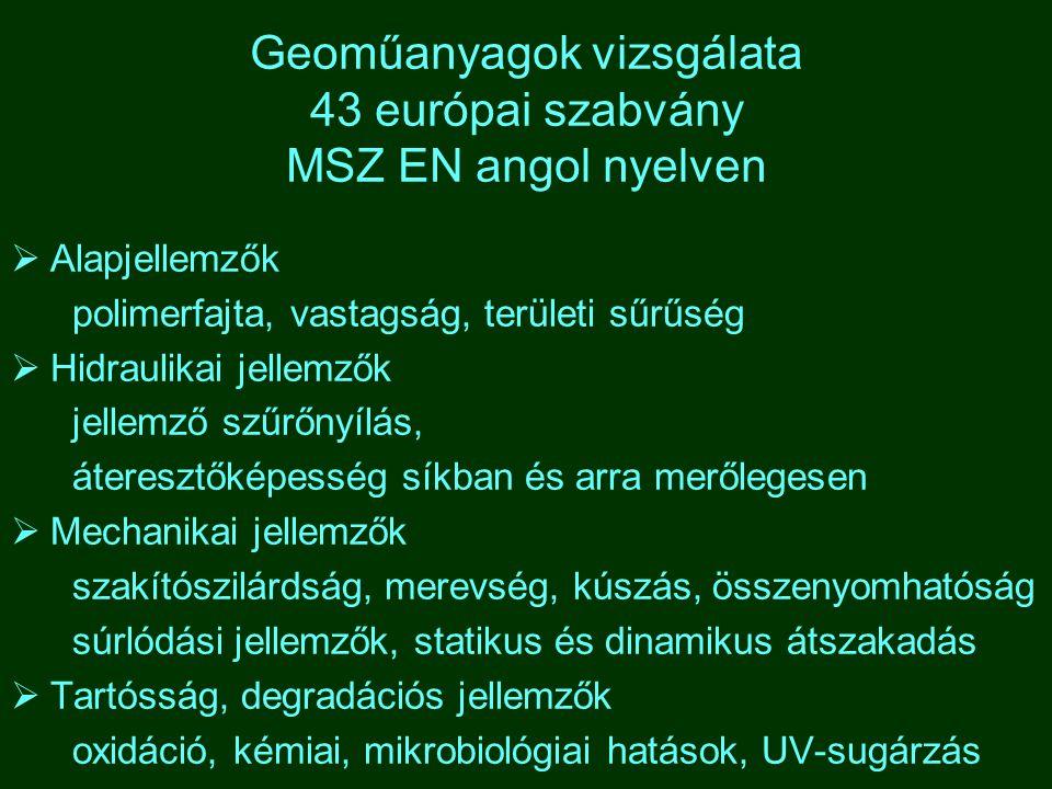 Geoműanyagok vizsgálata 43 európai szabvány MSZ EN angol nyelven  Alapjellemzők polimerfajta, vastagság, területi sűrűség  Hidraulikai jellemzők jel