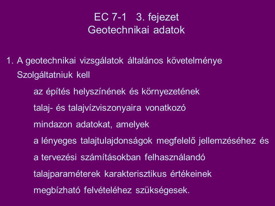 EC 7-1 3. fejezet Geotechnikai adatok 1.A geotechnikai vizsgálatok általános követelménye Szolgáltatniuk kell az építés helyszínének és környezetének