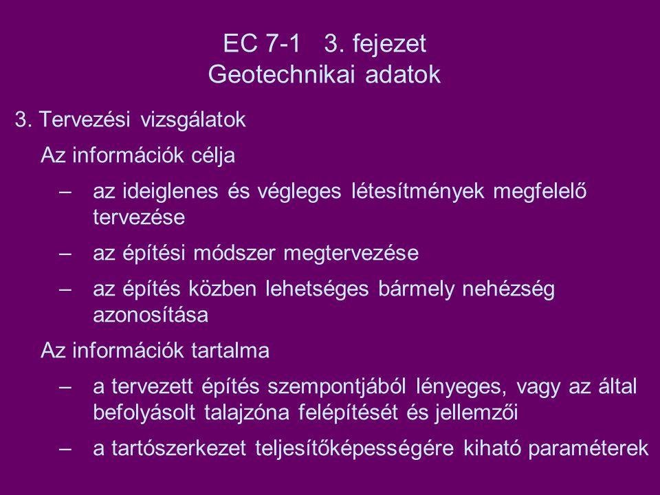 EC 7-1 3. fejezet Geotechnikai adatok 3. Tervezési vizsgálatok Az információk célja –az ideiglenes és végleges létesítmények megfelelő tervezése –az é