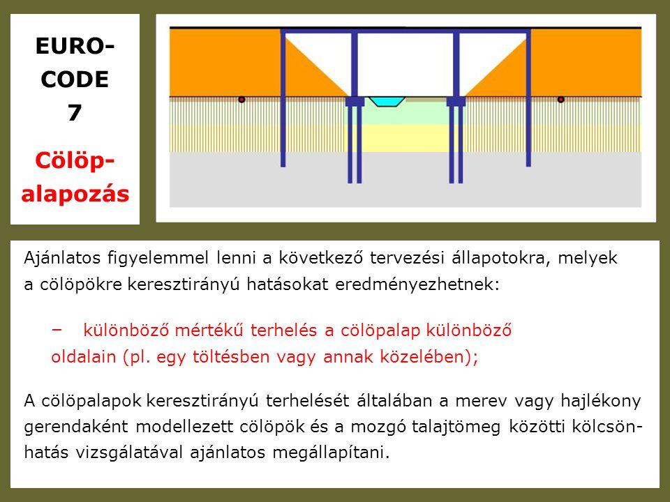 EURO- CODE 7 Töltések Kis szilárdságú és nagyon összenyomható altalajra kerülő töltések esetén olyan kivitelezési folyamatot kell előírni, mely biztosítja, hogy a teherbíró képességet nem lépik túl, és a kivitelezés közben nem fordulnak elő túlzottan nagy süllyedések vagy mozgások.