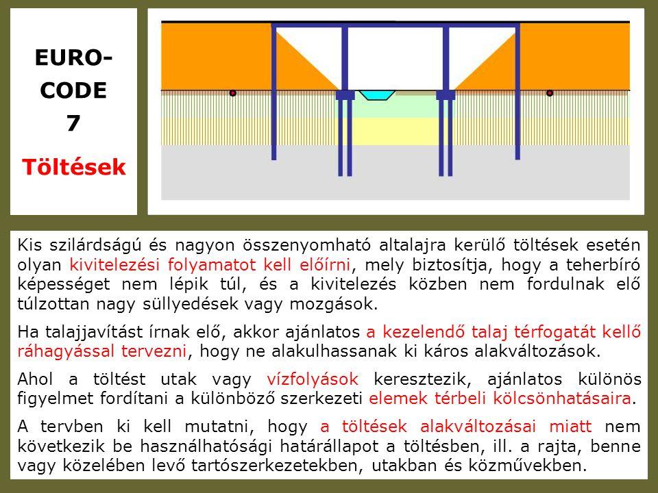 EURO- CODE 7 Töltések Kis szilárdságú és nagyon összenyomható altalajra kerülő töltések esetén olyan kivitelezési folyamatot kell előírni, mely biztos