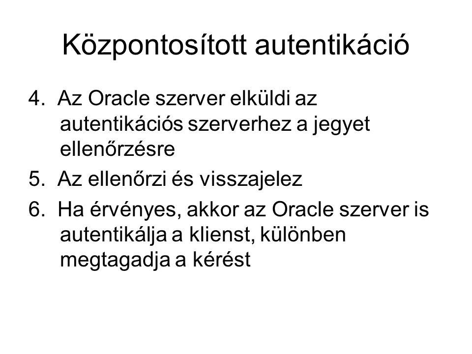 Központosított autentikáció 4. Az Oracle szerver elküldi az autentikációs szerverhez a jegyet ellenőrzésre 5. Az ellenőrzi és visszajelez 6. Ha érvény
