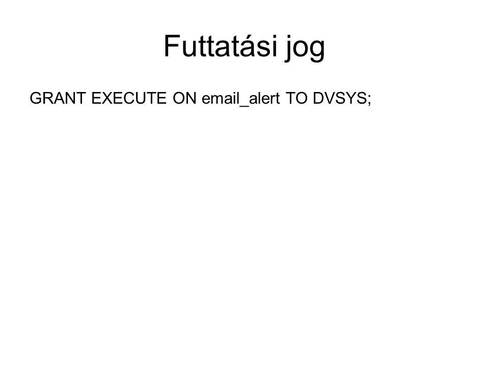 Futtatási jog GRANT EXECUTE ON email_alert TO DVSYS;