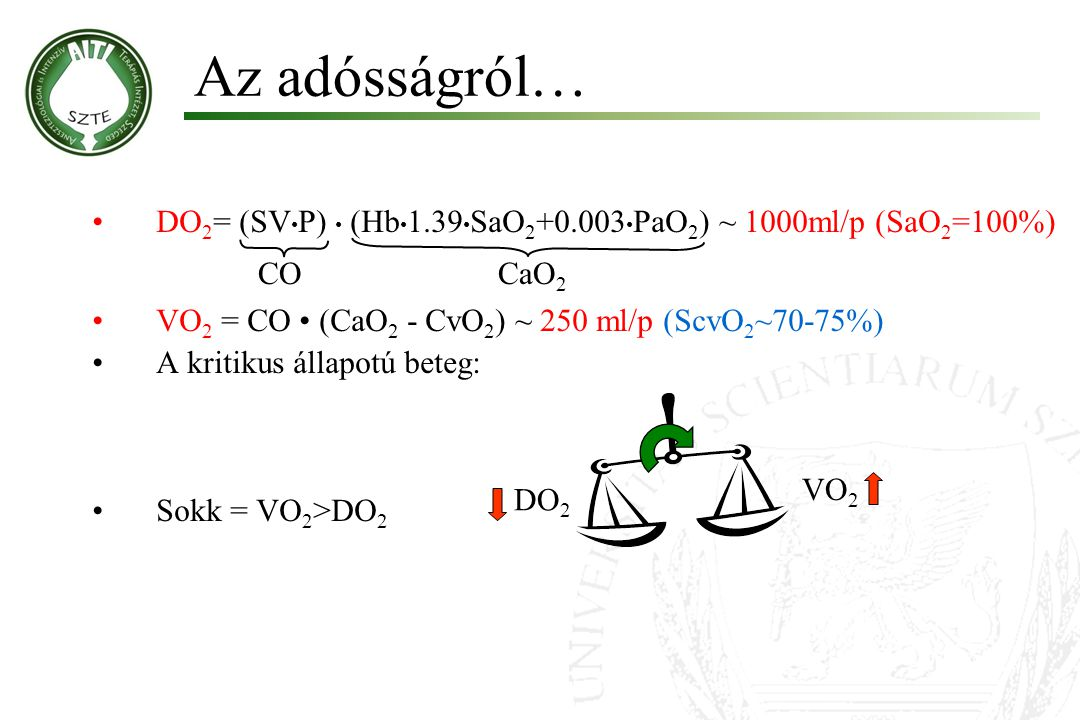 Az adósságról… DO 2 = (SV P) (Hb 1.39 SaO 2 +0.003 PaO 2 ) ~ 1000ml/p (SaO 2 =100%) VO 2 = CO (CaO 2 - CvO 2 ) ~ 250 ml/p (ScvO 2 ~70-75%) A kritikus állapotú beteg: Sokk = VO 2 >DO 2 VO 2 DO 2 COCaO 2