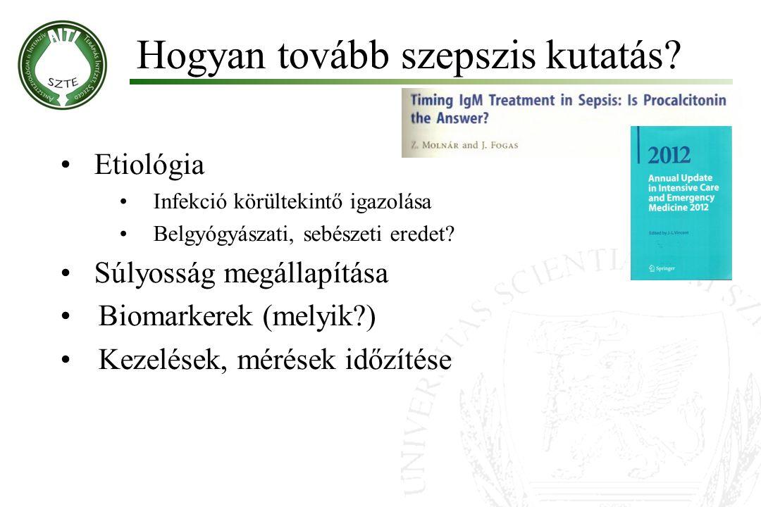 Hogyan tovább szepszis kutatás? Etiológia Infekció körültekintő igazolása Belgyógyászati, sebészeti eredet? Súlyosság megállapítása Biomarkerek (melyi