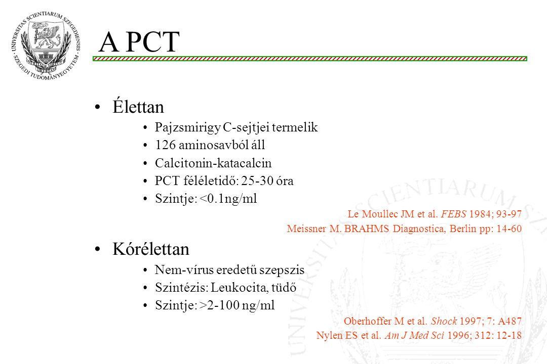 Élettan Pajzsmirigy C-sejtjei termelik 126 aminosavból áll Calcitonin-katacalcin PCT féléletidő: 25-30 óra Szintje: <0.1ng/ml Le Moullec JM et al. FEB