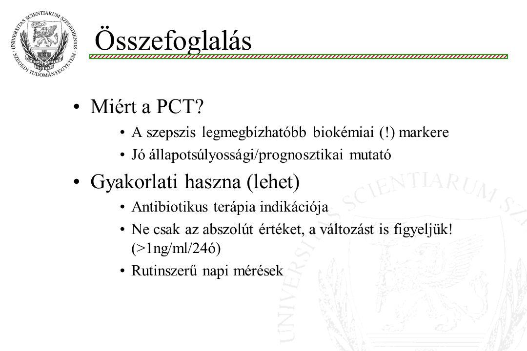 Összefoglalás Miért a PCT? A szepszis legmegbízhatóbb biokémiai (!) markere Jó állapotsúlyossági/prognosztikai mutató Gyakorlati haszna (lehet) Antibi