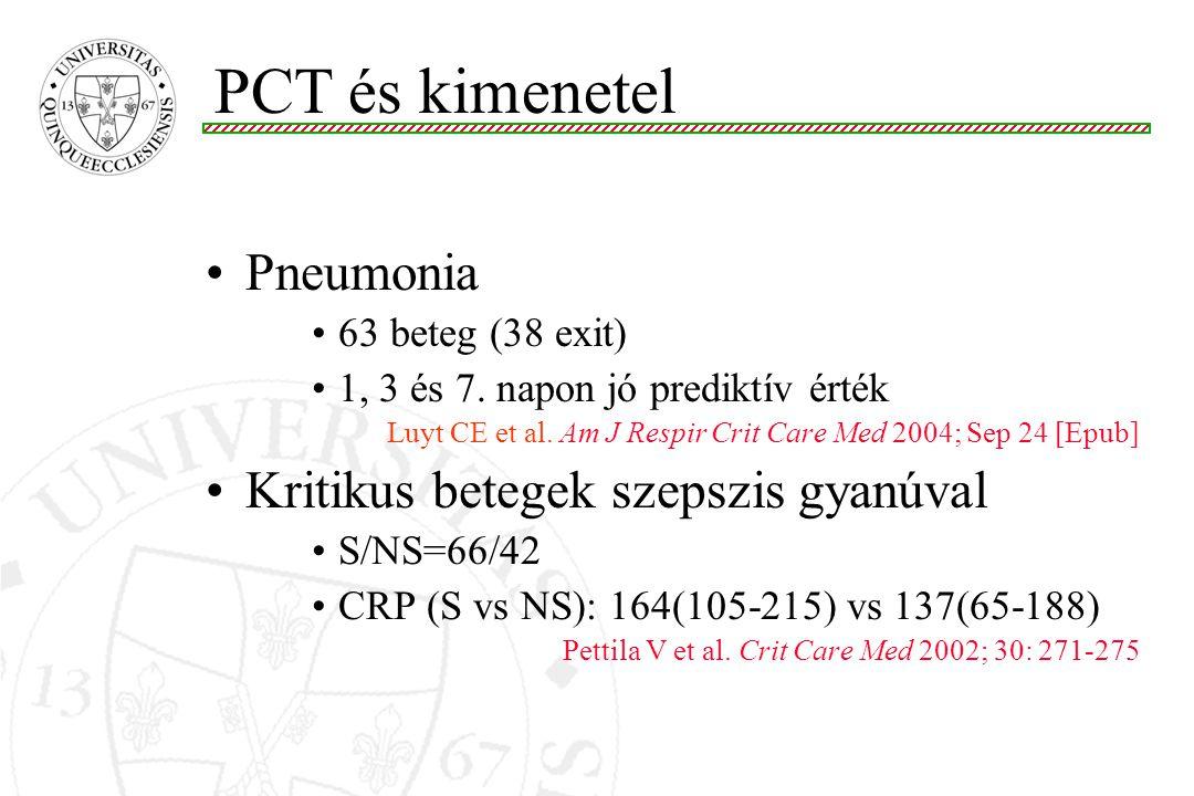 Pneumonia 63 beteg (38 exit) 1, 3 és 7. napon jó prediktív érték Luyt CE et al. Am J Respir Crit Care Med 2004; Sep 24 [Epub] Kritikus betegek szepszi