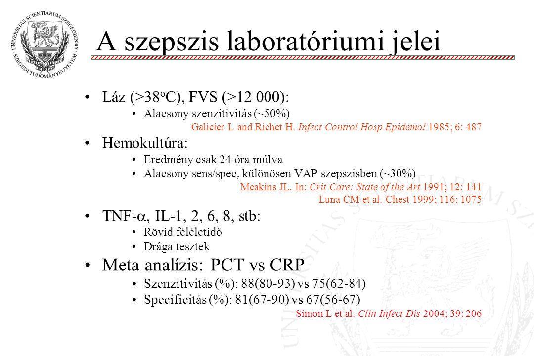 A szepszis laboratóriumi jelei Láz (>38 o C), FVS (>12 000): Alacsony szenzitivitás (~50%) Galicier L and Richet H. Infect Control Hosp Epidemol 1985;