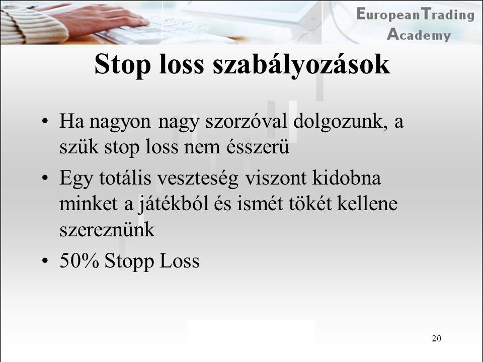 20 Stop loss szabályozások Ha nagyon nagy szorzóval dolgozunk, a szük stop loss nem ésszerü Egy totális veszteség viszont kidobna minket a játékból és