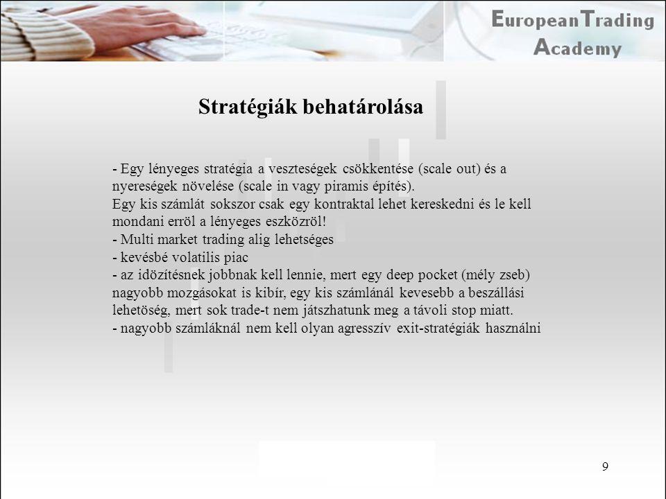 9 Stratégiák behatárolása - Egy lényeges stratégia a veszteségek csökkentése (scale out) és a nyereségek növelése (scale in vagy piramis építés). Egy