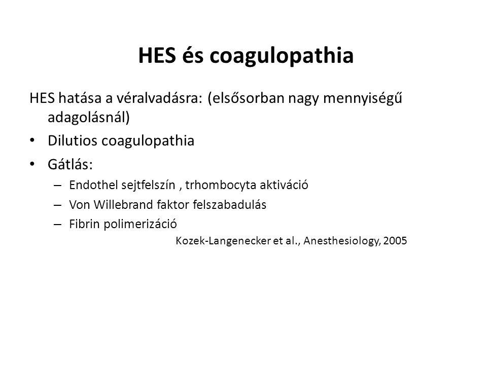 HES és coagulopathia HES hatása a véralvadásra: (elsősorban nagy mennyiségű adagolásnál) Dilutios coagulopathia Gátlás: – Endothel sejtfelszín, trhomb