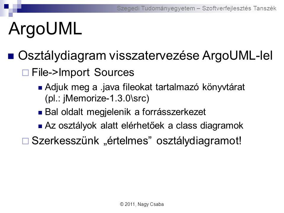 """Szegedi Tudományegyetem – Szoftverfejlesztés Tanszék ArgoUML Osztálydiagram visszatervezése ArgoUML-lel  File->Import Sources Adjuk meg a.java fileokat tartalmazó könyvtárat (pl.: jMemorize-1.3.0\src) Bal oldalt megjelenik a forrásszerkezet Az osztályok alatt elérhetőek a class diagramok  Szerkesszünk """"értelmes osztálydiagramot."""