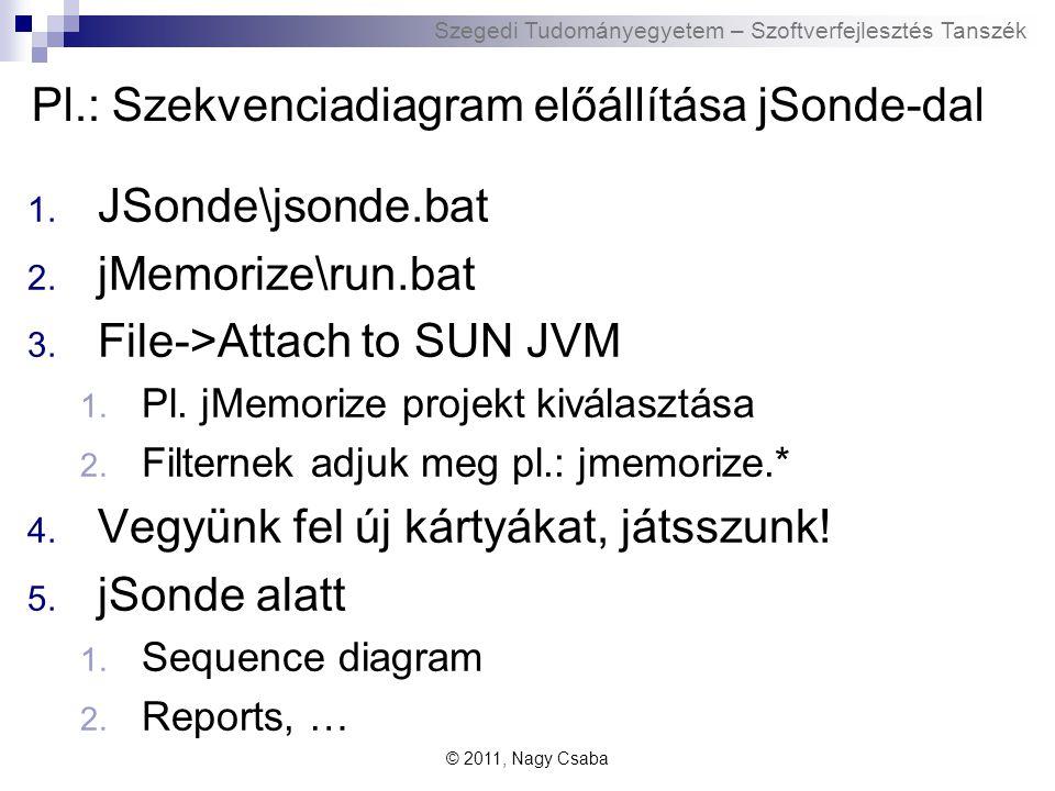 Szegedi Tudományegyetem – Szoftverfejlesztés Tanszék Pl.: Szekvenciadiagram előállítása jSonde-dal 1.