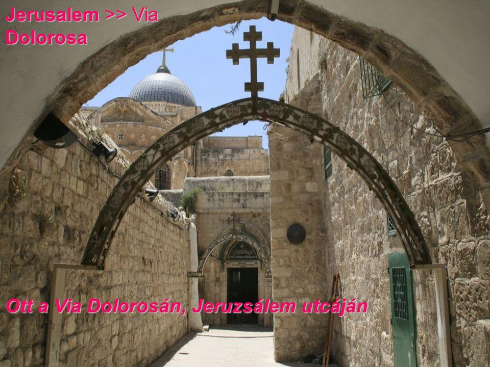 Jerusalem >> Via Dolorosa Ott a Via Dolorosán, Jeruzsálem utcáján