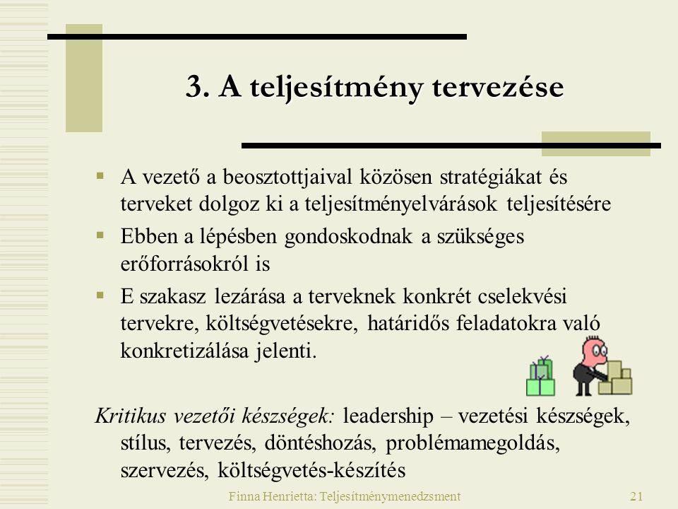 Finna Henrietta: Teljesítménymenedzsment21 3. A teljesítmény tervezése  A vezető a beosztottjaival közösen stratégiákat és terveket dolgoz ki a telje