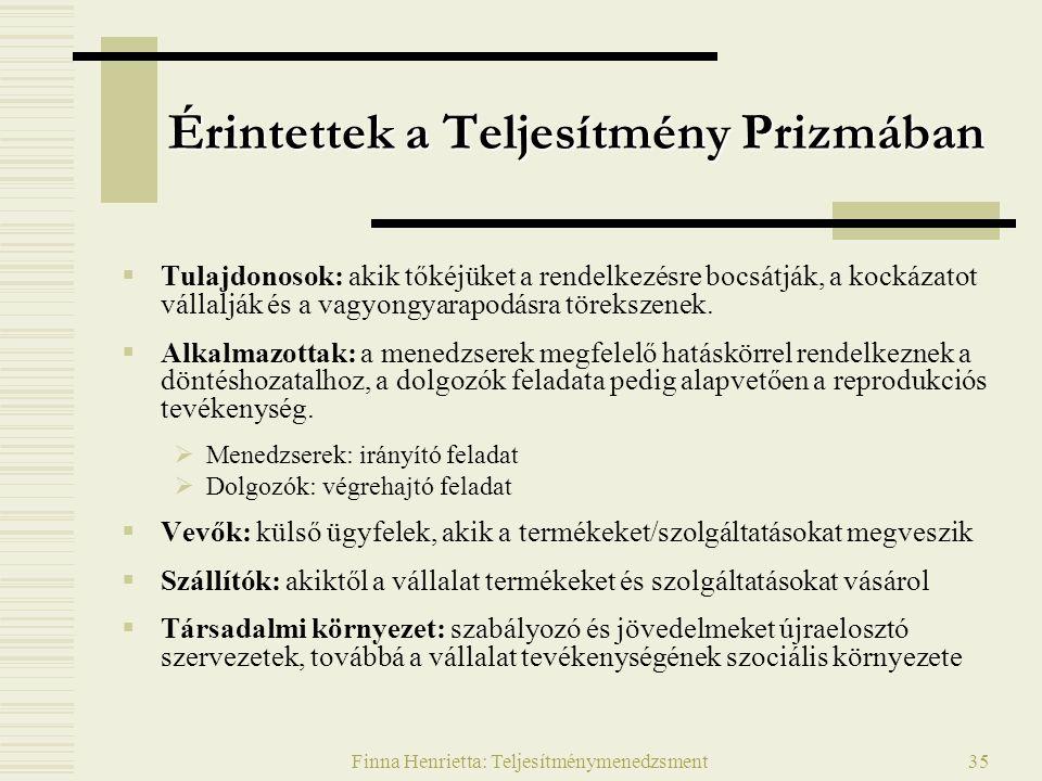 Finna Henrietta: Teljesítménymenedzsment35 Érintettek a Teljesítmény Prizmában  Tulajdonosok: akik tőkéjüket a rendelkezésre bocsátják, a kockázatot vállalják és a vagyongyarapodásra törekszenek.