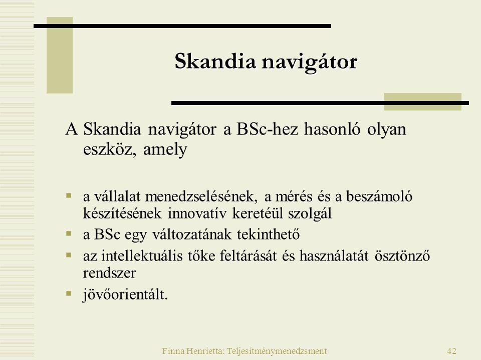 Finna Henrietta: Teljesítménymenedzsment42 Skandia navigátor A Skandia navigátor a BSc-hez hasonló olyan eszköz, amely  a vállalat menedzselésének, a