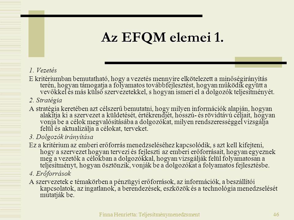 Finna Henrietta: Teljesítménymenedzsment46 Az EFQM elemei 1. 1. Vezetés E kritériumban bemutatható, hogy a vezetés mennyire elkötelezett a minőségirán