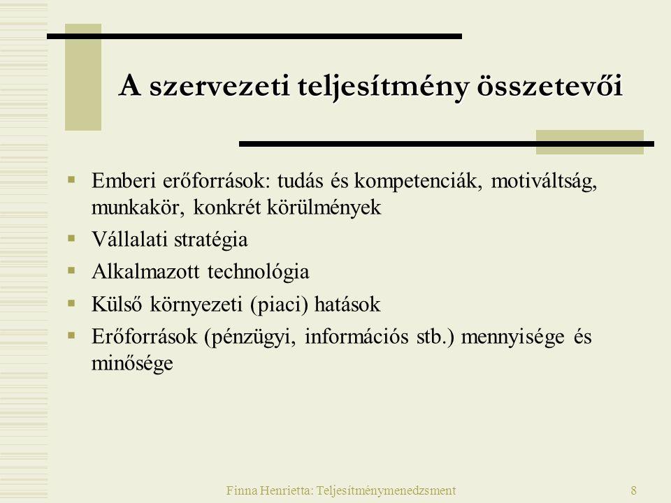 Finna Henrietta: Teljesítménymenedzsment8 A szervezeti teljesítmény összetevői  Emberi erőforrások: tudás és kompetenciák, motiváltság, munkakör, kon