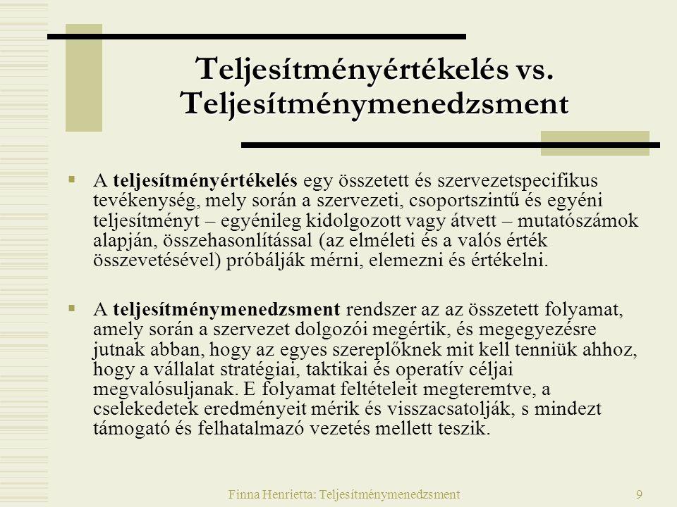 Finna Henrietta: Teljesítménymenedzsment9 Teljesítményértékelés vs.