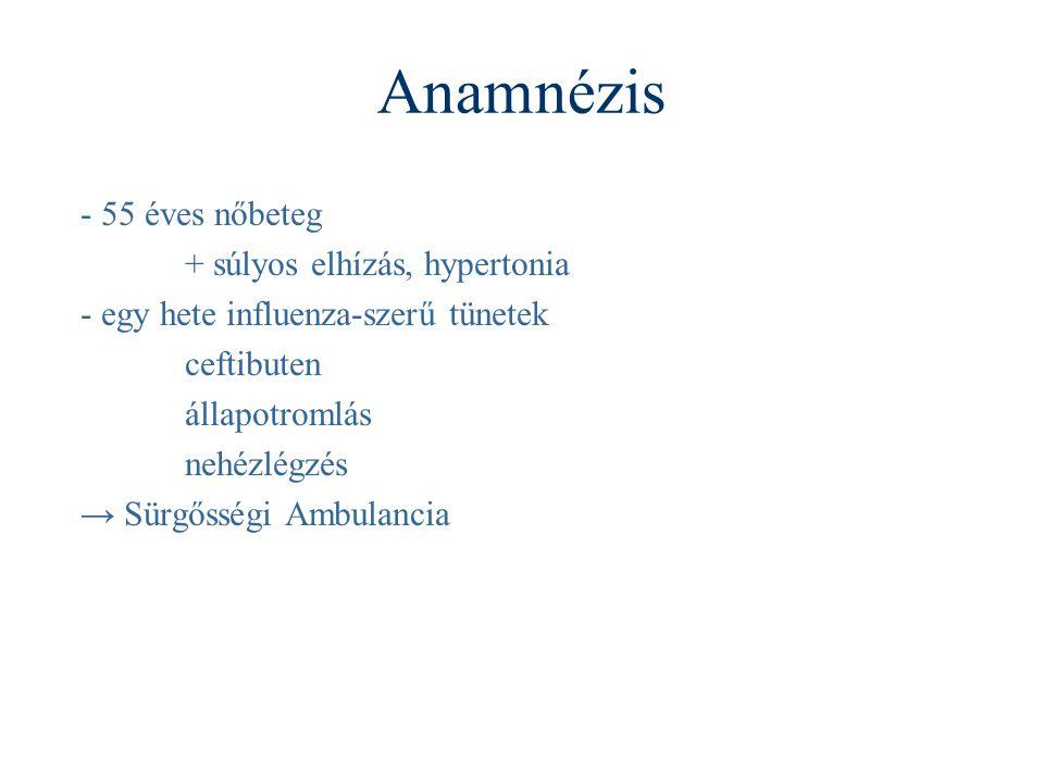 Anamnézis - 55 éves nőbeteg + súlyos elhízás, hypertonia - egy hete influenza-szerű tünetek ceftibuten állapotromlás nehézlégzés → Sürgősségi Ambulancia