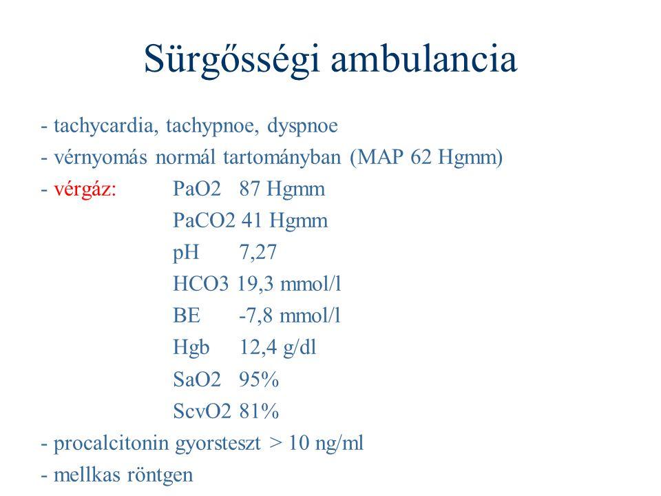 Sürgősségi ambulancia - tachycardia, tachypnoe, dyspnoe - vérnyomás normál tartományban (MAP 62 Hgmm) - vérgáz: PaO2 87 Hgmm PaCO2 41 Hgmm pH 7,27 HCO3 19,3 mmol/l BE -7,8 mmol/l Hgb 12,4 g/dl SaO2 95% ScvO2 81% - procalcitonin gyorsteszt > 10 ng/ml - mellkas röntgen