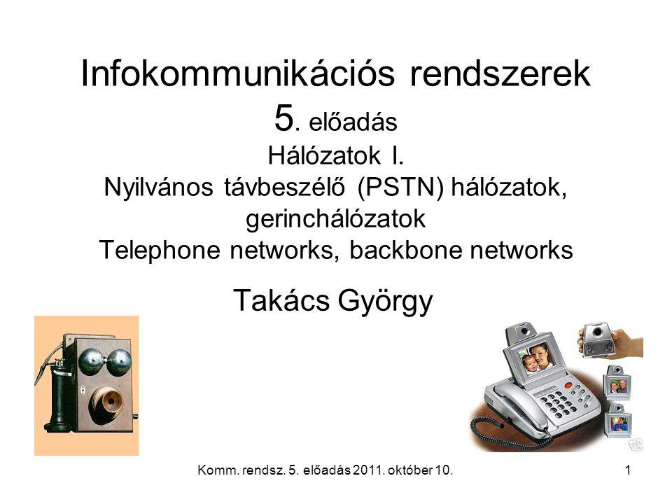 Komm. rendsz. 5. előadás 2011. október 10.1 Infokommunikációs rendszerek 5.