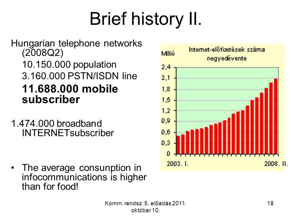 Komm. rendsz. 5. előadás 2011. október 10. 18 Brief history II.