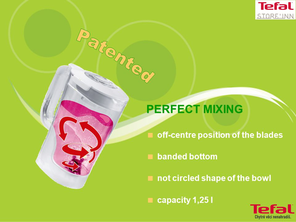 PERFECT MIXING  off-centre position of the blades  banded bottom  not circled shape of the bowl  capacity 1,25 l