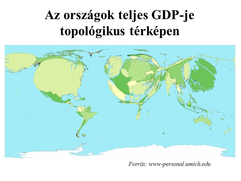 Az országok teljes GDP-je topológikus térképen Forrás: www-personal.umich.edu