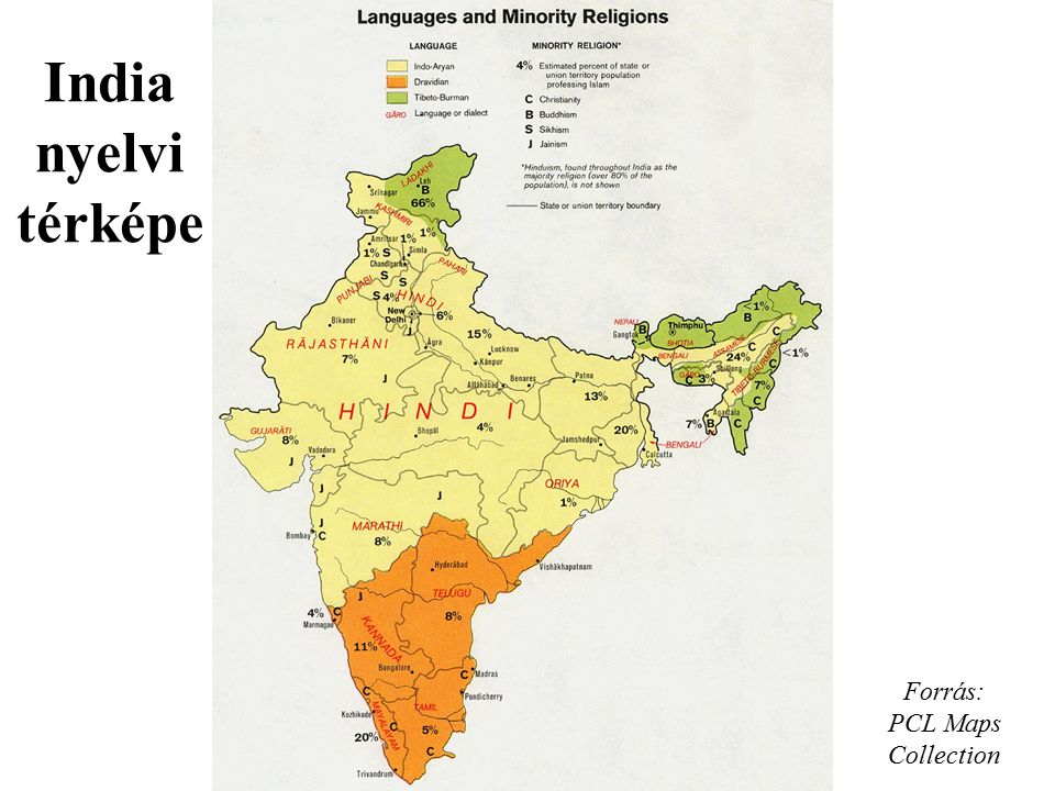 Forrás: PCL Maps Collection India nyelvi térképe