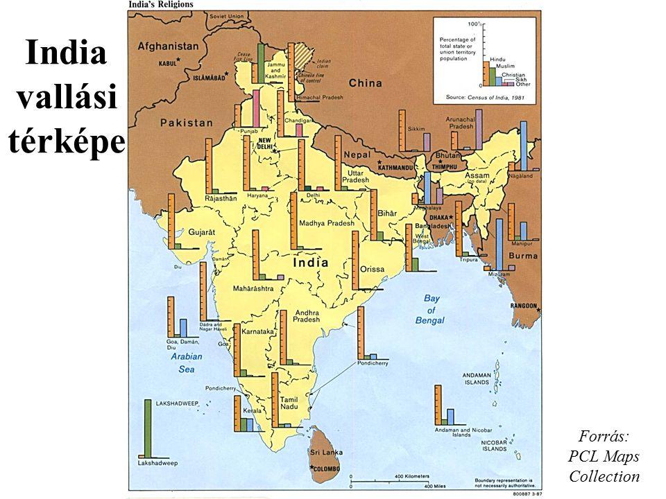 Forrás: PCL Maps Collection India vallási térképe
