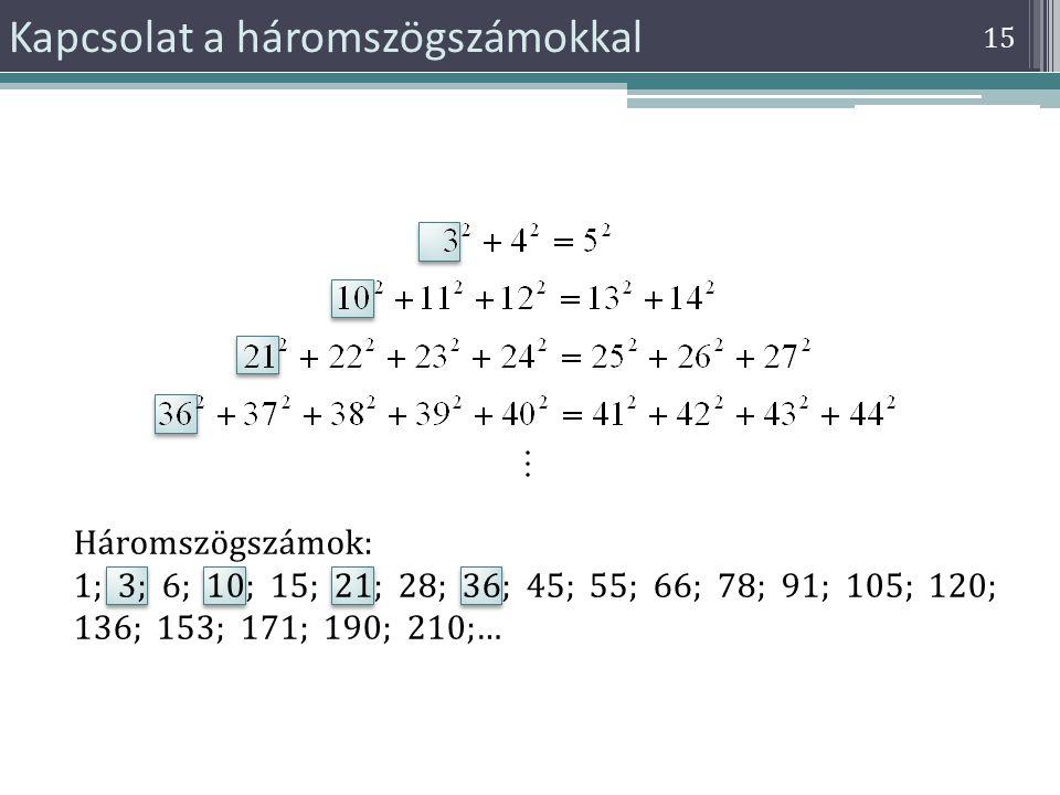 15 Kapcsolat a háromszögszámokkal Háromszögszámok: 1; 3; 6; 10; 15; 21; 28; 36; 45; 55; 66; 78; 91; 105; 120; 136; 153; 171; 190; 210;…