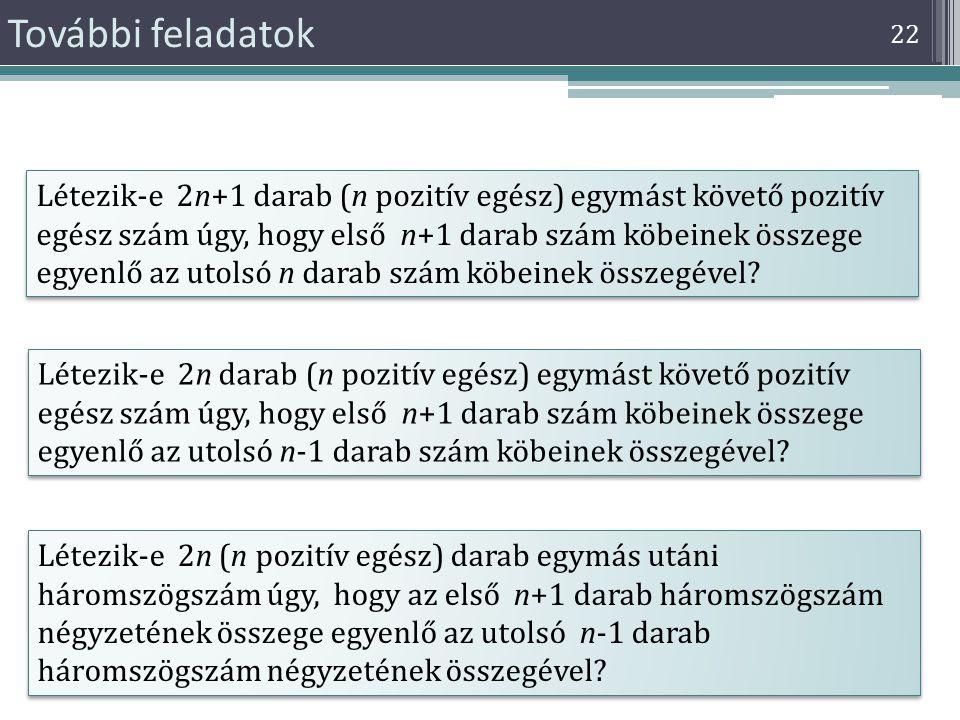 22 További feladatok Létezik-e 2n+1 darab (n pozitív egész) egymást követő pozitív egész szám úgy, hogy első n+1 darab szám köbeinek összege egyenlő a