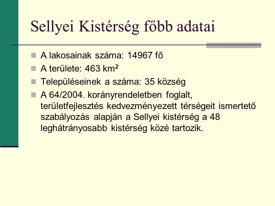 Sellyei Kistérség főbb adatai A lakosainak száma: 14967 fő A területe: 463 km 2 Településeinek a száma: 35 község A 64/2004. korányrendeletben foglalt