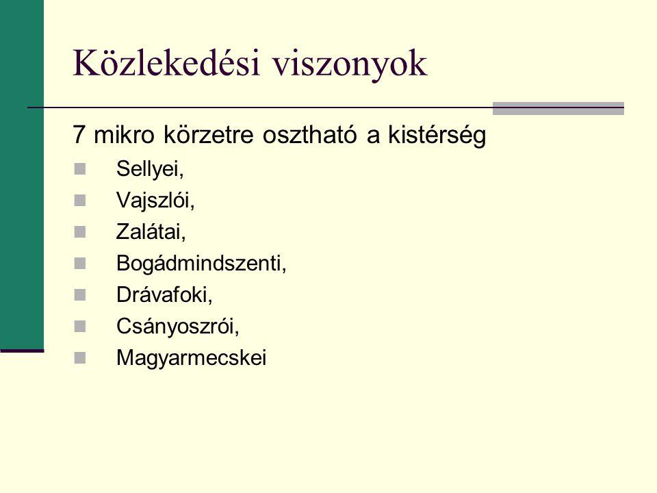 7 mikro körzetre osztható a kistérség Sellyei, Vajszlói, Zalátai, Bogádmindszenti, Drávafoki, Csányoszrói, Magyarmecskei
