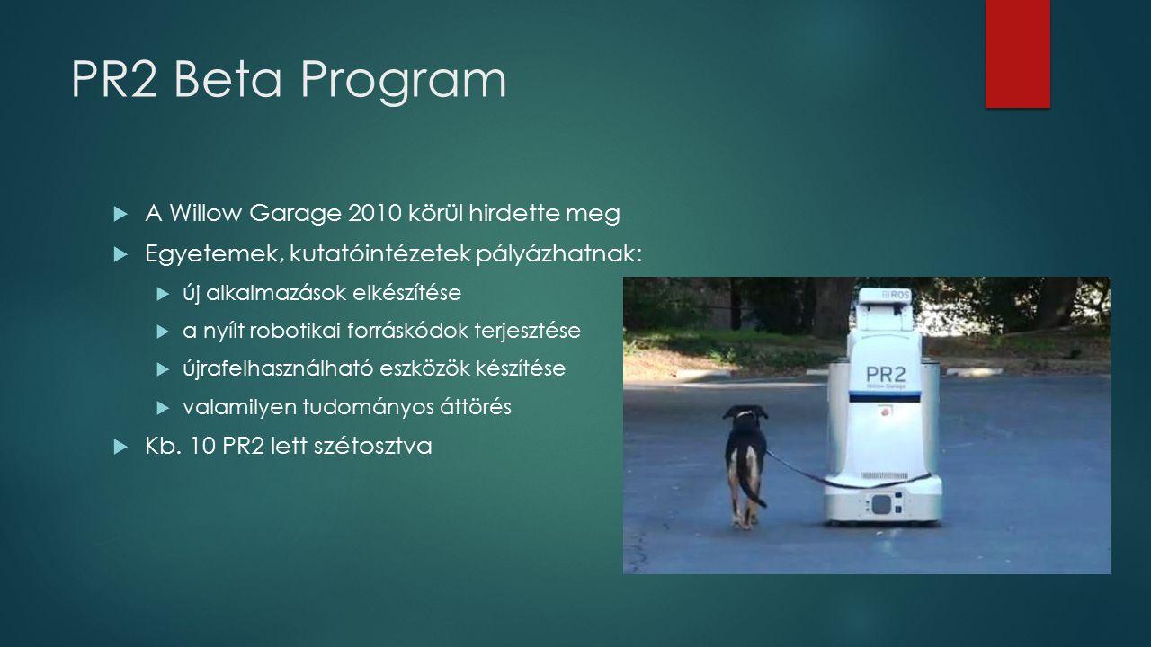 PR2 Beta Program  A Willow Garage 2010 körül hirdette meg  Egyetemek, kutatóintézetek pályázhatnak:  új alkalmazások elkészítése  a nyílt robotika