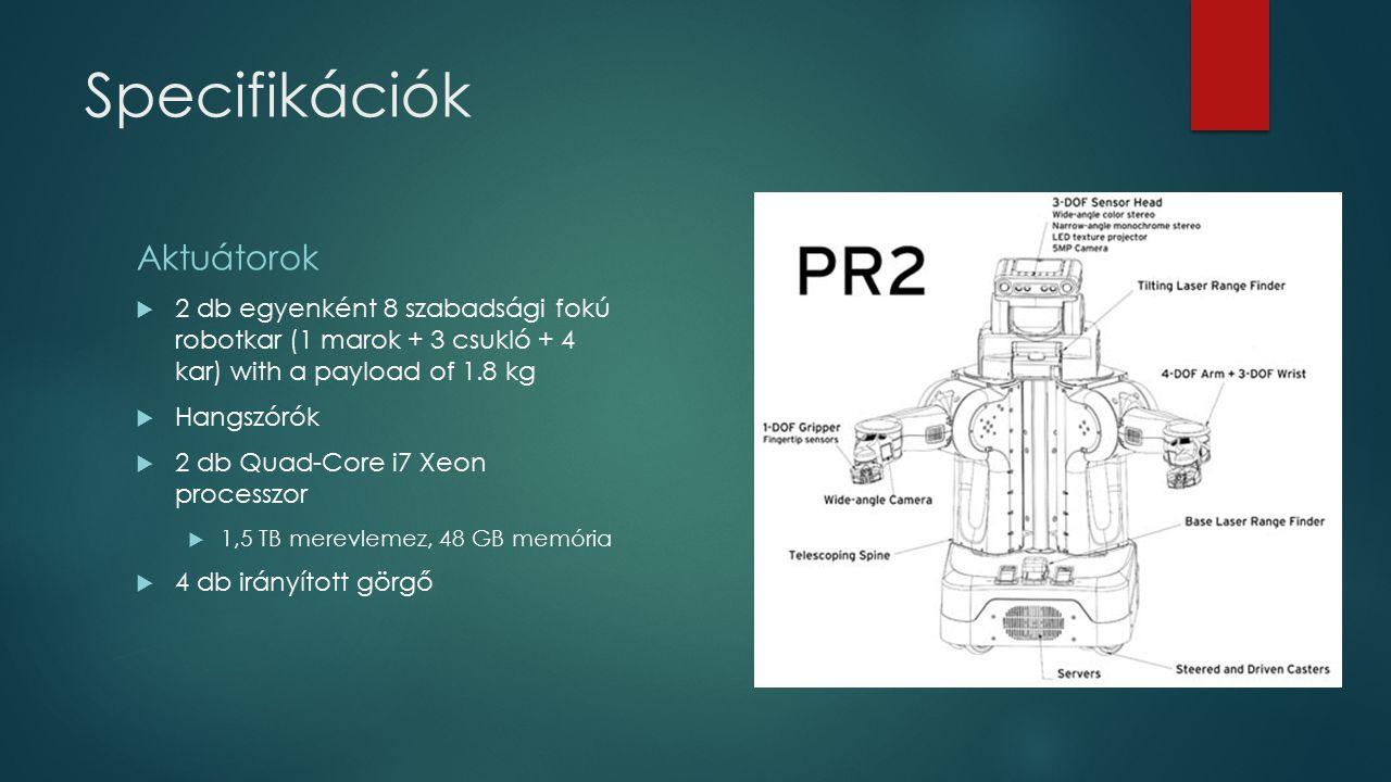 Specifikációk Aktuátorok  2 db egyenként 8 szabadsági fokú robotkar (1 marok + 3 csukló + 4 kar) with a payload of 1.8 kg  Hangszórók  2 db Quad-Co