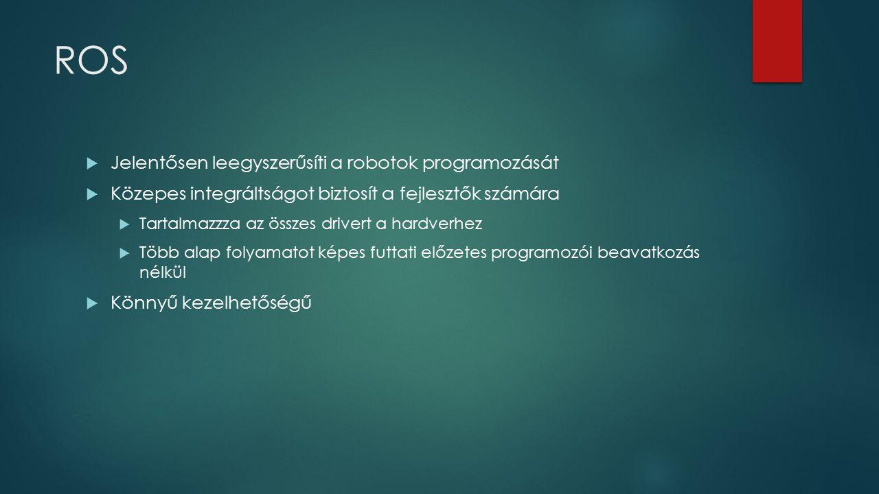 ROS  Jelentősen leegyszerűsíti a robotok programozását  Közepes integráltságot biztosít a fejlesztők számára  Tartalmazzza az összes drivert a hard